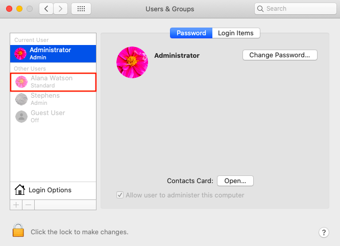 create user account for Mac using 'Create User Account' action
