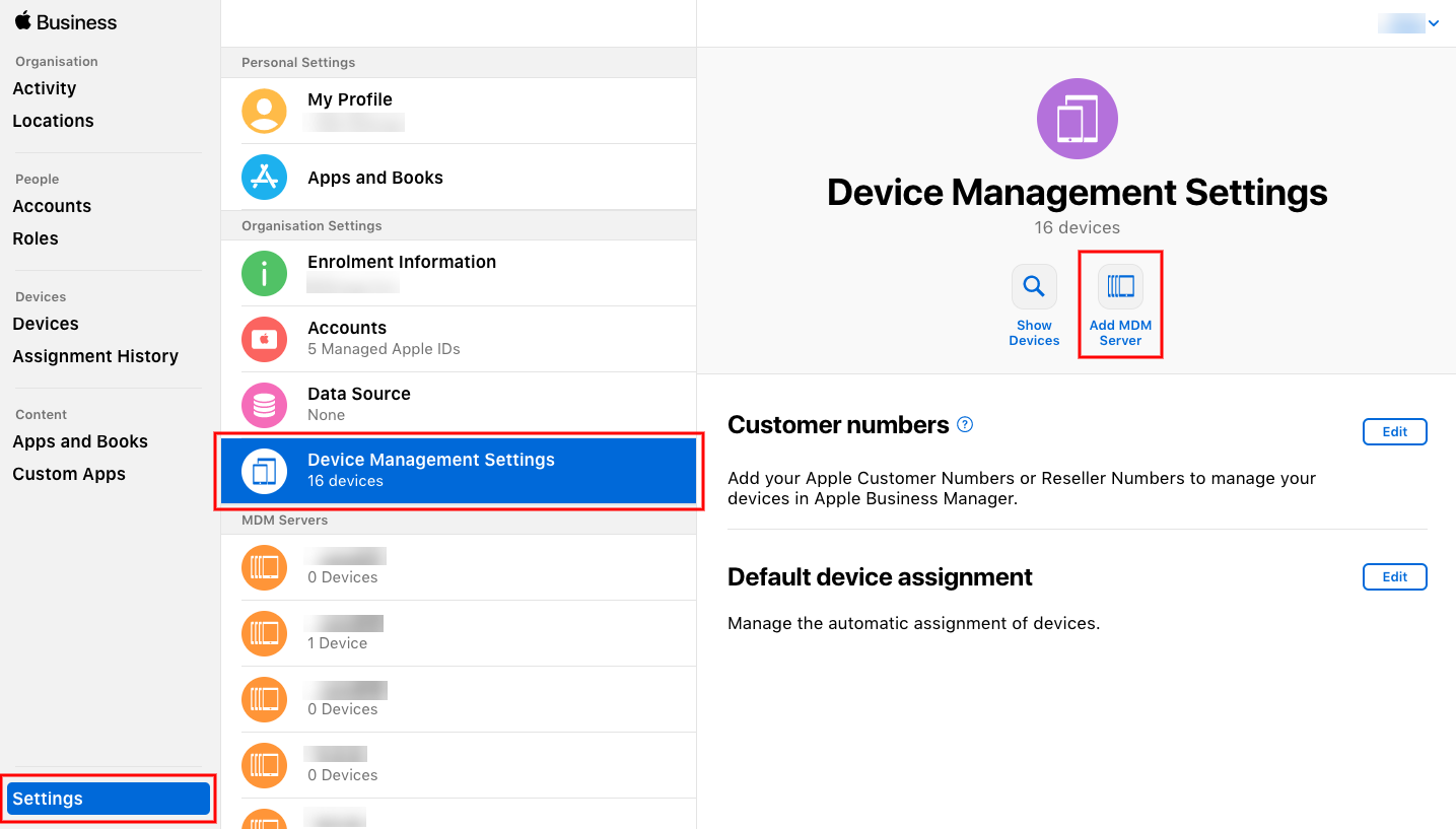 Device Management settings in the DEP portal for assigning enrollment server