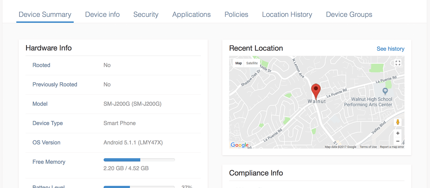 View the recent location of the device from the device summary page in Hexnode