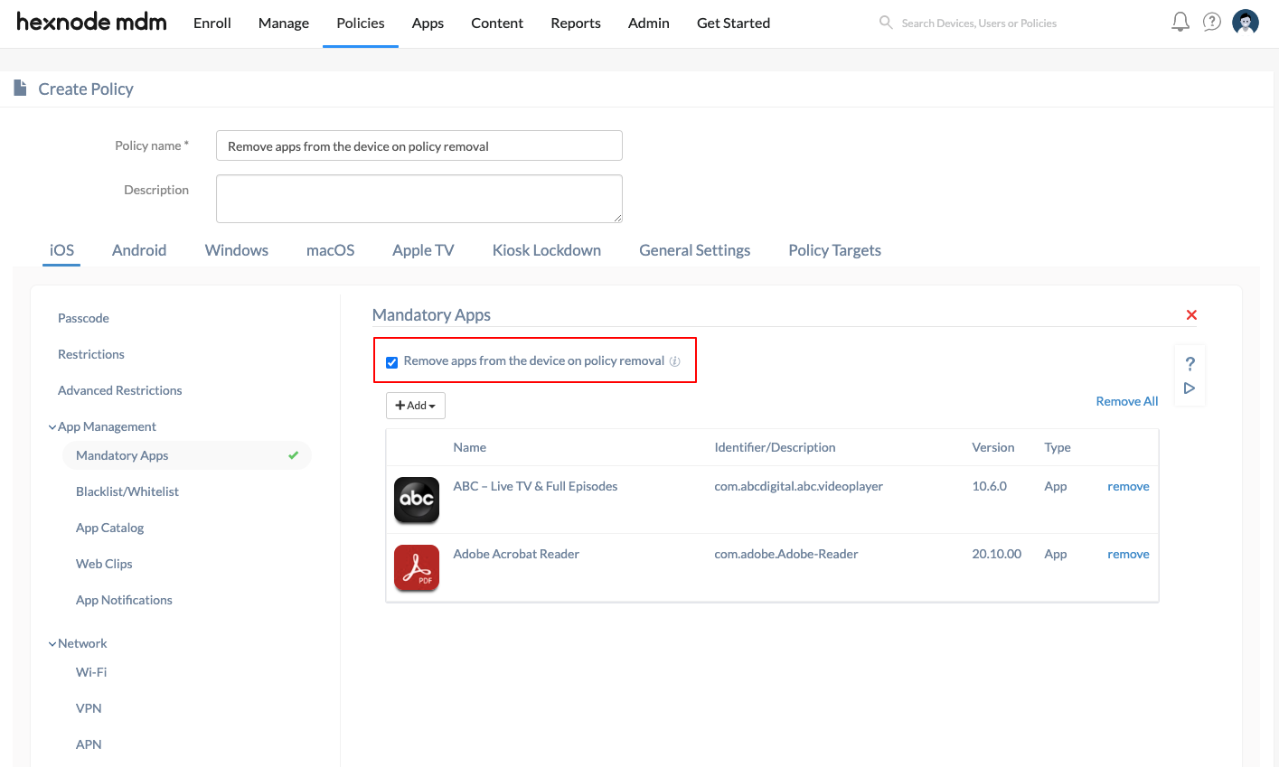 Wipe corporate data or apps from a device using the mandatory apps feature in Hexnode
