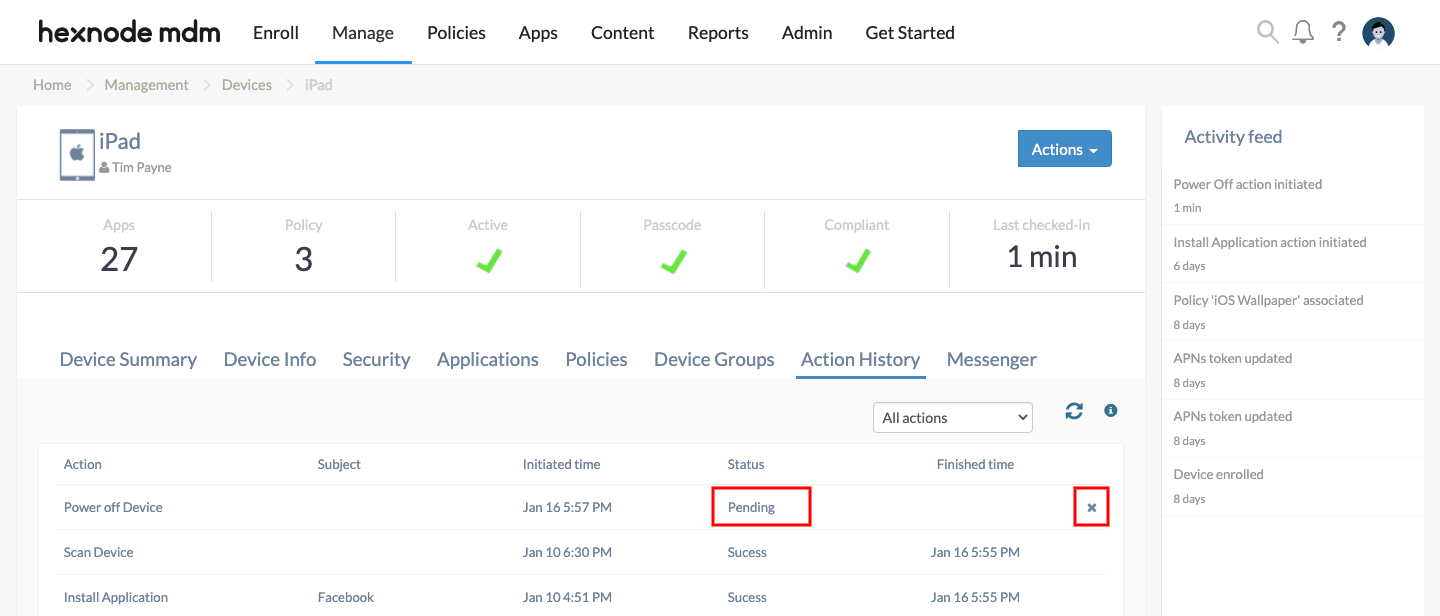 turn off the power on devices enrolled in Hexnode MDM