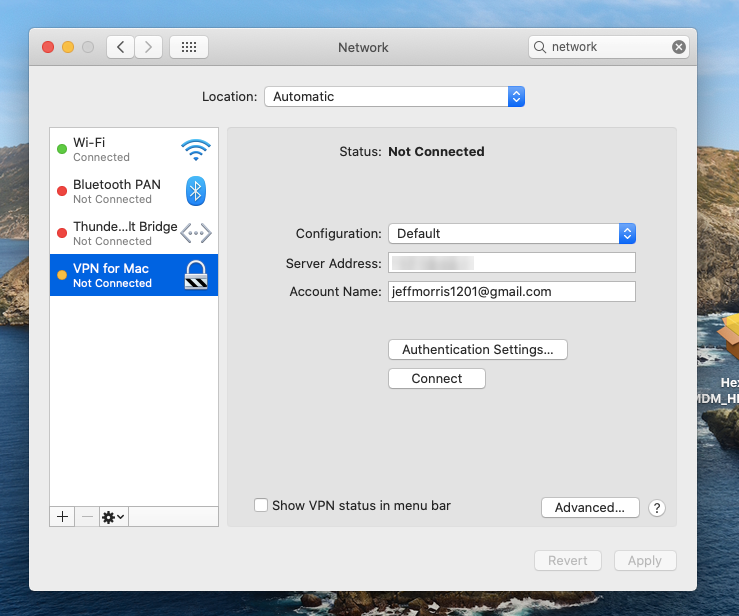 VPN server set up on Mac using secured remote configuration policy in Hexnode MDM
