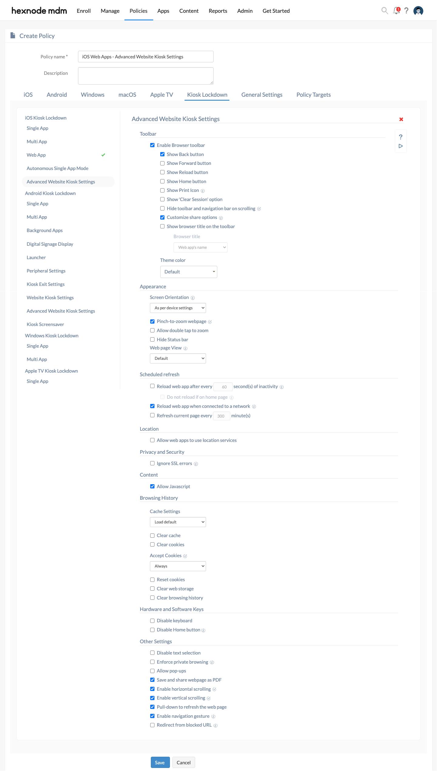 Advanced website kiosk settings for web app on iOS devices