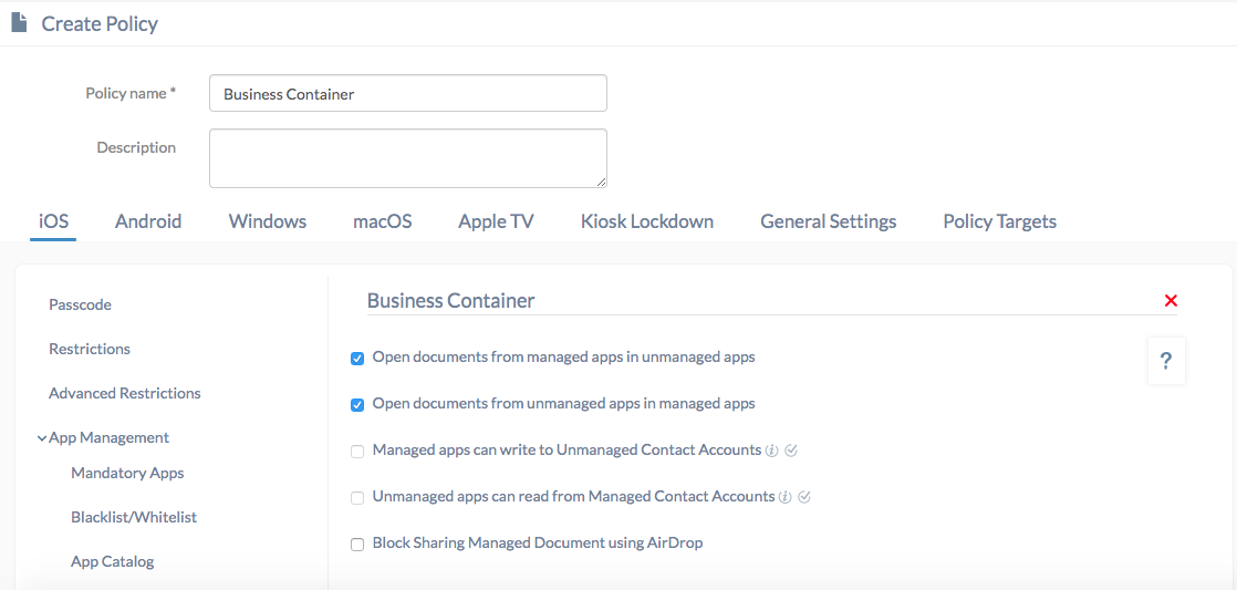 Apple MDM business container policy for iOS devices