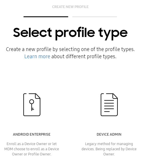 Knox Mobile enrollment (KME) - select profile type
