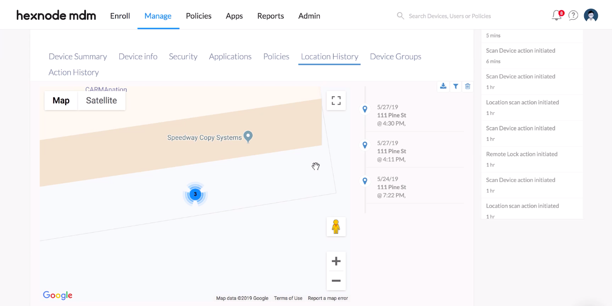 Find lost iOS devices with Hexnode MDM using Scan Device Location