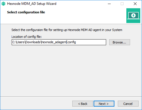 Select the configuration file installed