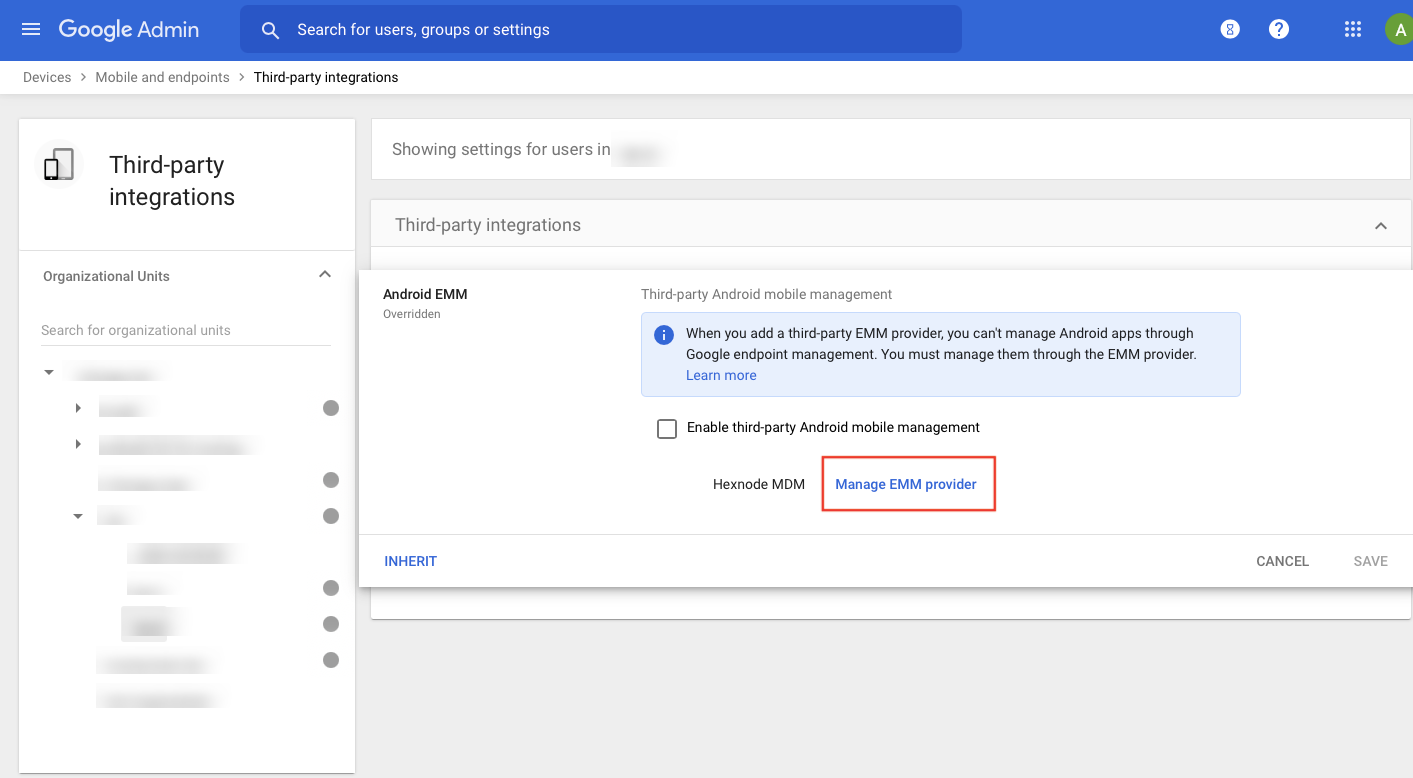 Unbind emm provider from google admin console