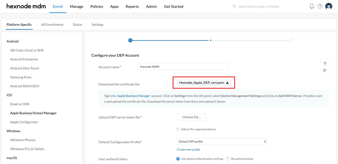 Configure DEP account in Hexnode for DEP enrollment