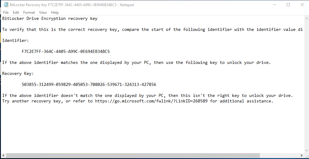 Drive encryption recovery key for Windows 10 PC