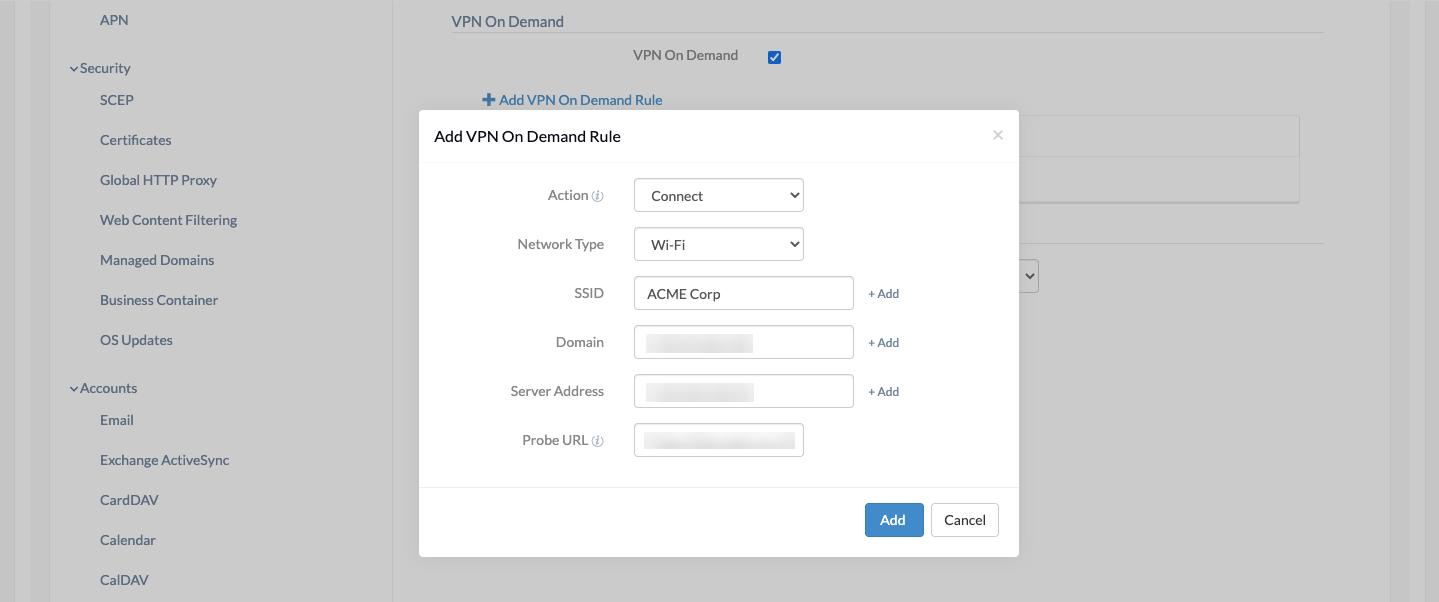 iOS VPN on demand configuration in Hexnode MDM