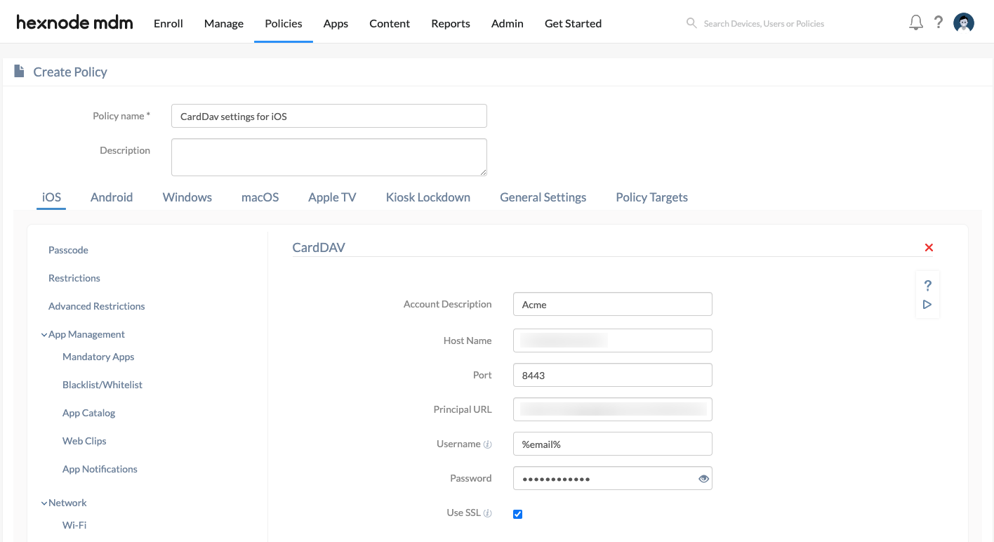 Configure CardDav settings for iOS devices using Hexnode MDM