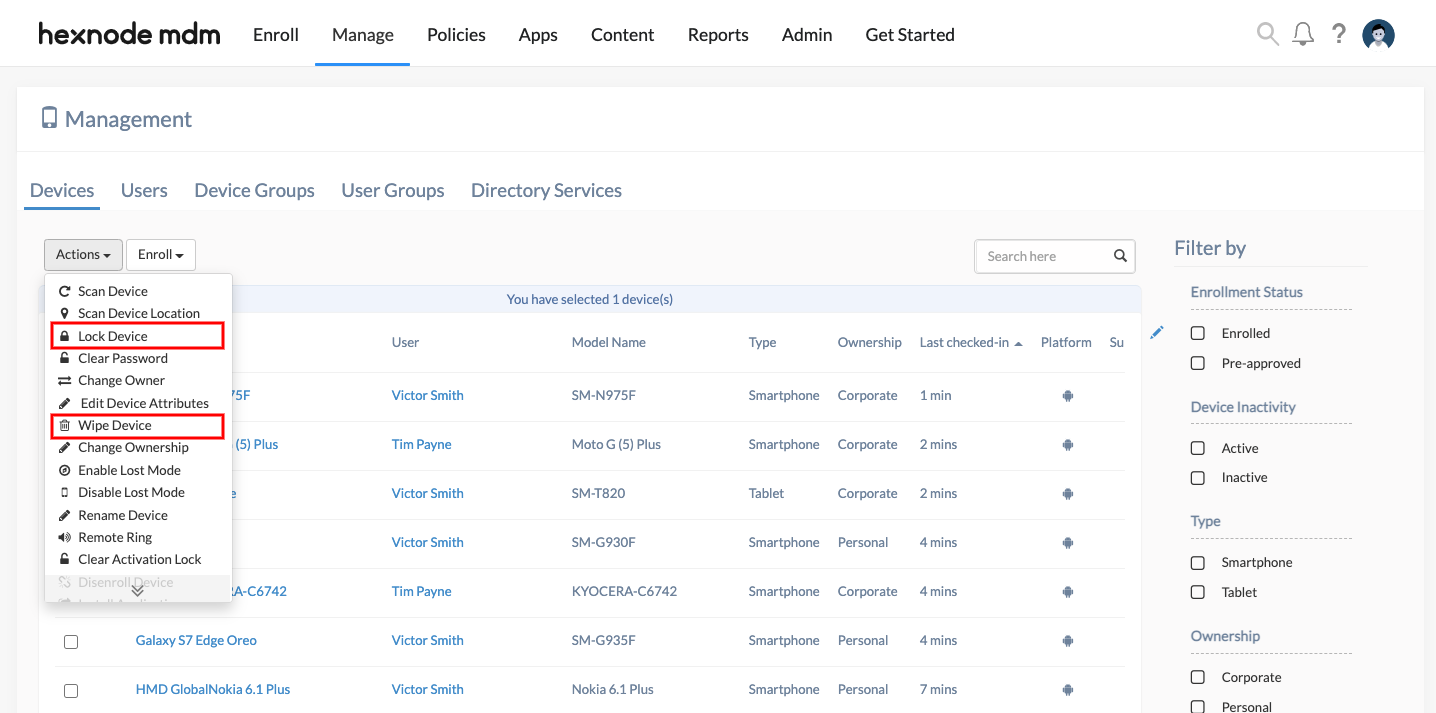Track and Manage lost Android devices using MDM