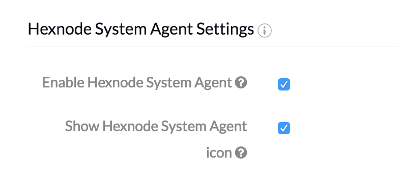 MDM System Agent App settings in the management portal