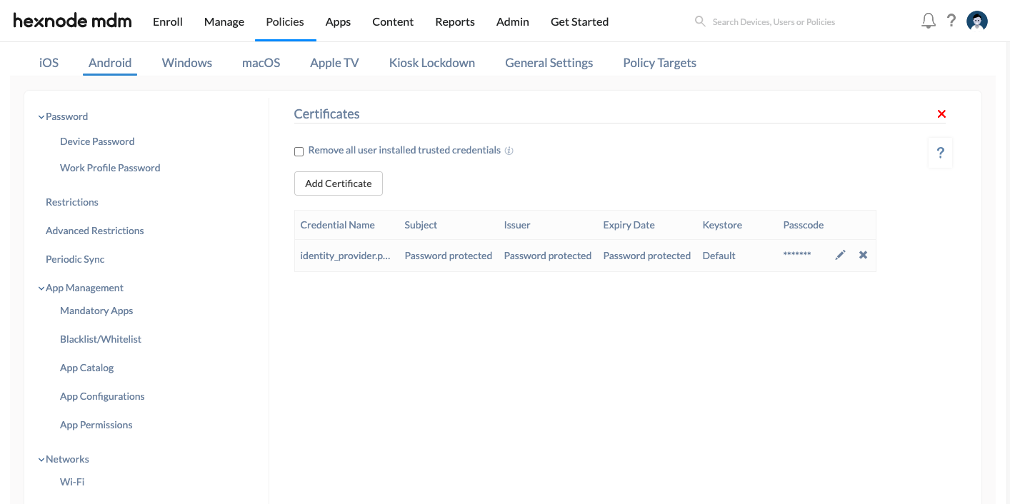 deploy certificates to Android devices and edit certificate attributes