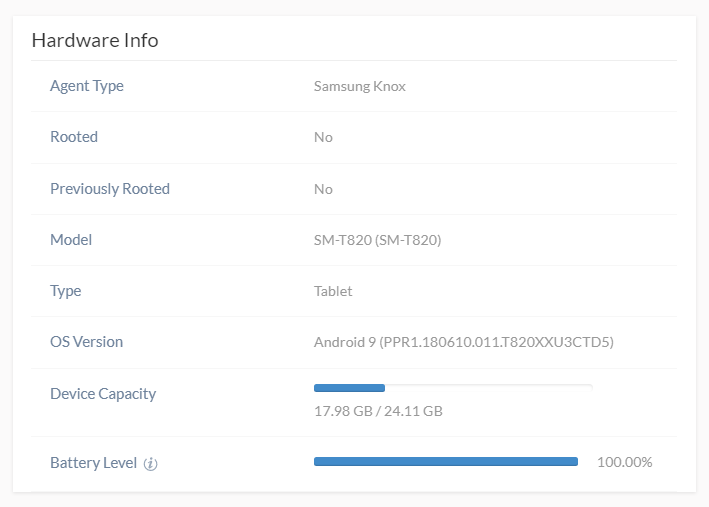 The Agent Type label under Hardware info should show Samsung Knox in order for Knox to be activated with Hexnode