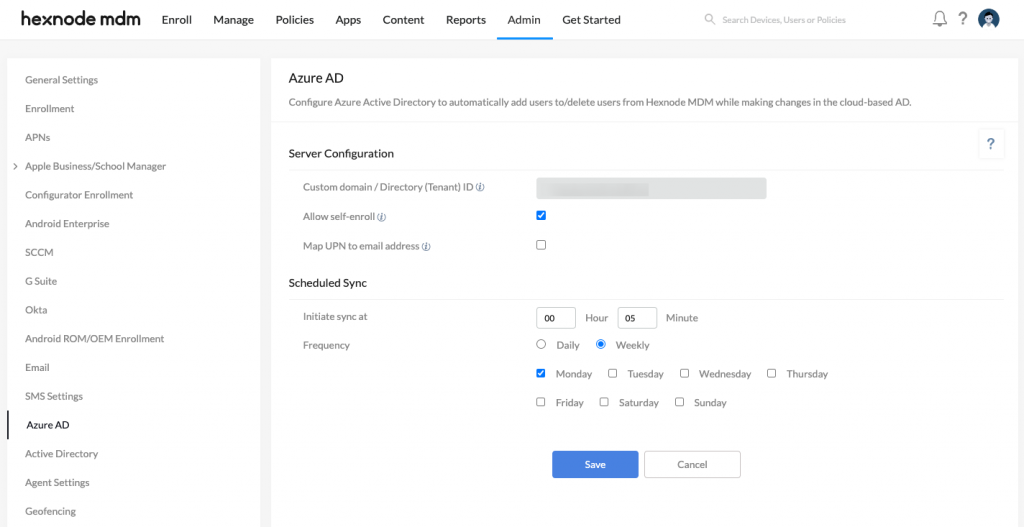 Configuring Azure AD in Hexnode portal