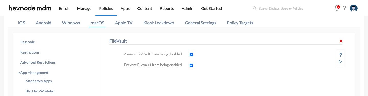 stop end-users from enabling or disabling FileVault