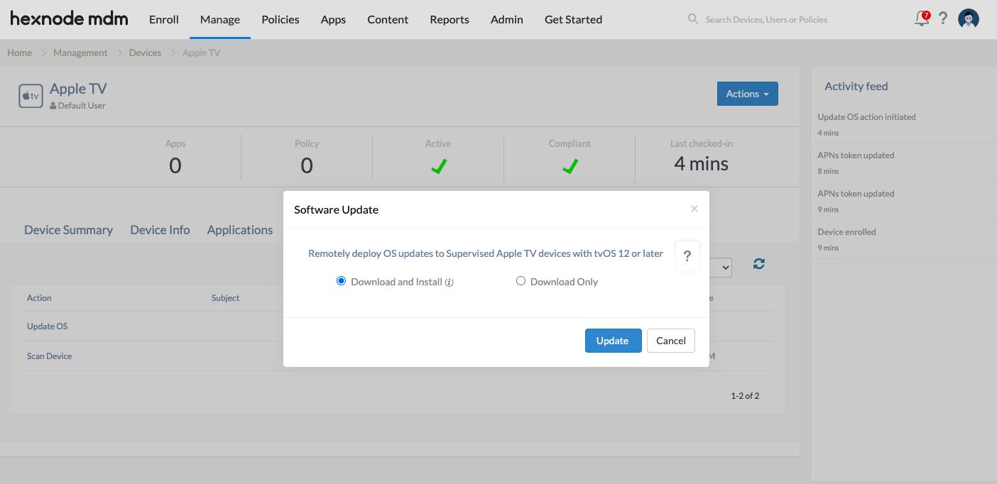 Enforce Apple TV OS update via Hexnode's MDM solution
