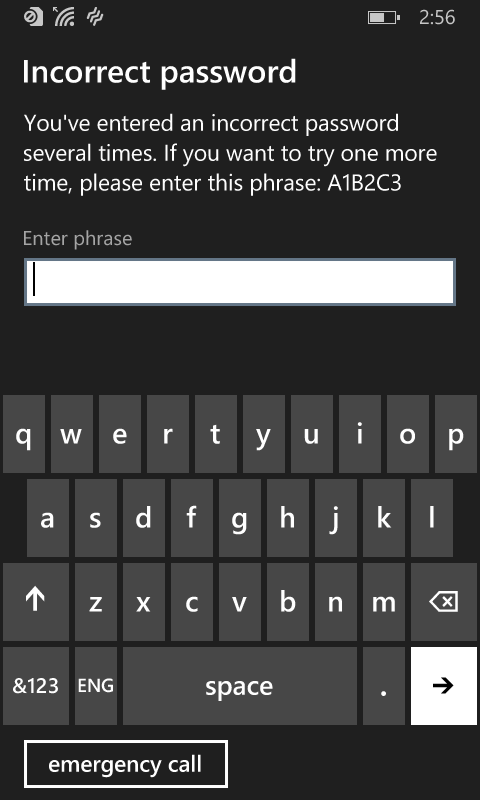 Device prompts the user to enter a random generated phrase after failed passcode attempts