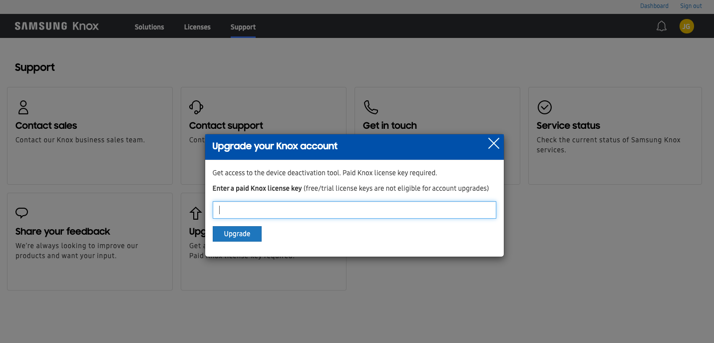 Upgrade the Samsung Knox account for users with trial portal