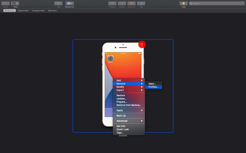 Steps to remove profiles using Apple Configurator