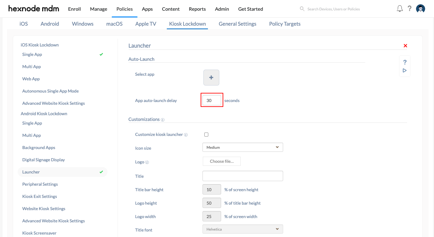 configure auto launch settings for Android single app kiosk mode