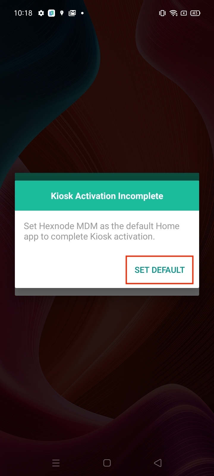 Complete kiosk activation on devices enrolled as Device Admin