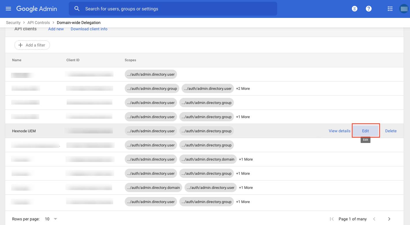 Modify settings for API client