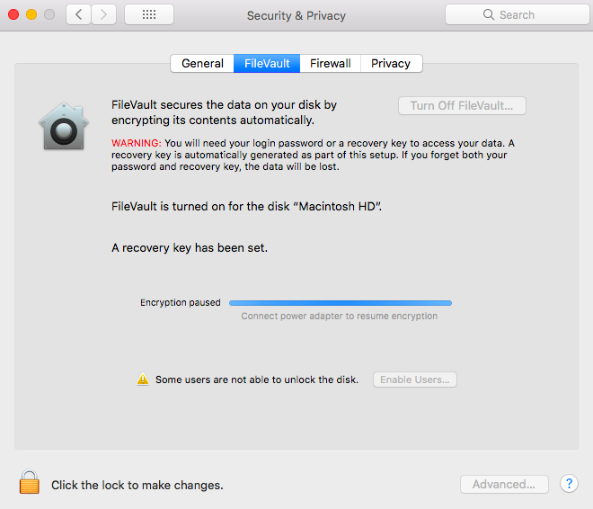 Resume FileVault disk encryption on the device