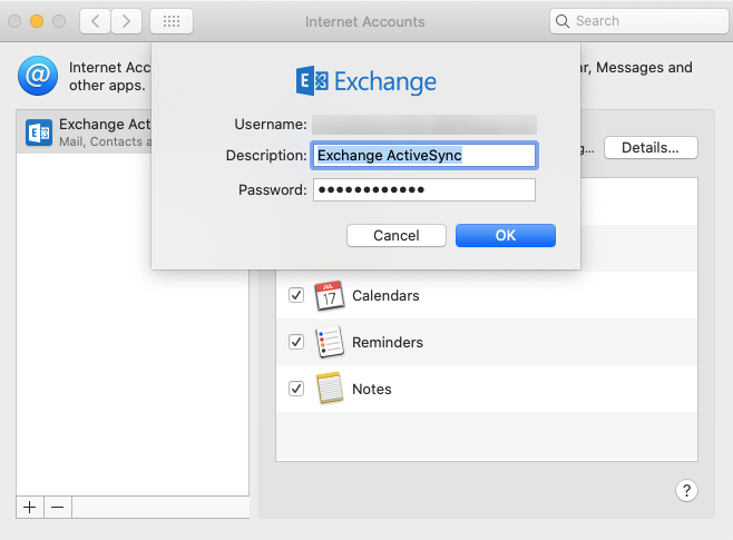 configure Exchange Active Sync settings for macOS users automatically