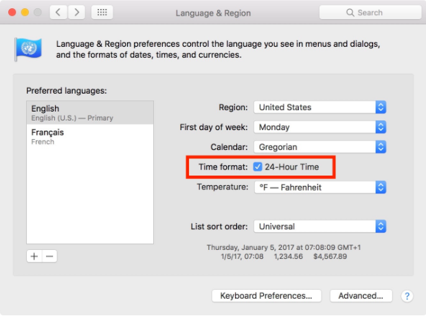 Configuring Language & Region Settings in Mac