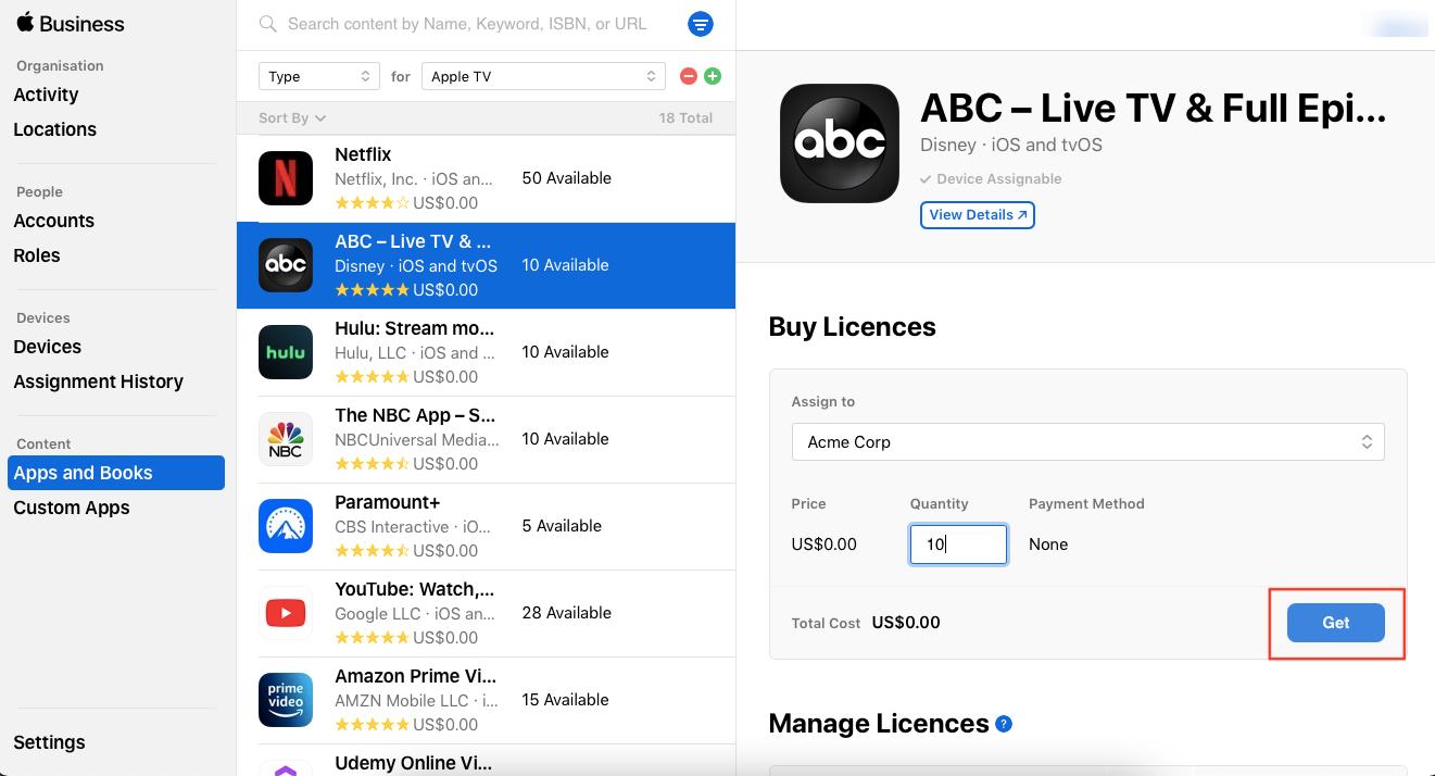 Buy VPP app licenses from Apple Business Manager