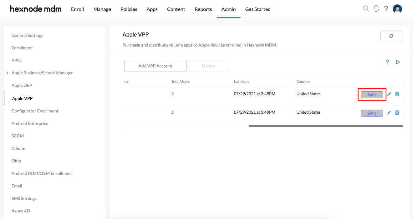Initiates sync on the VPP account added to the Hexnode portal