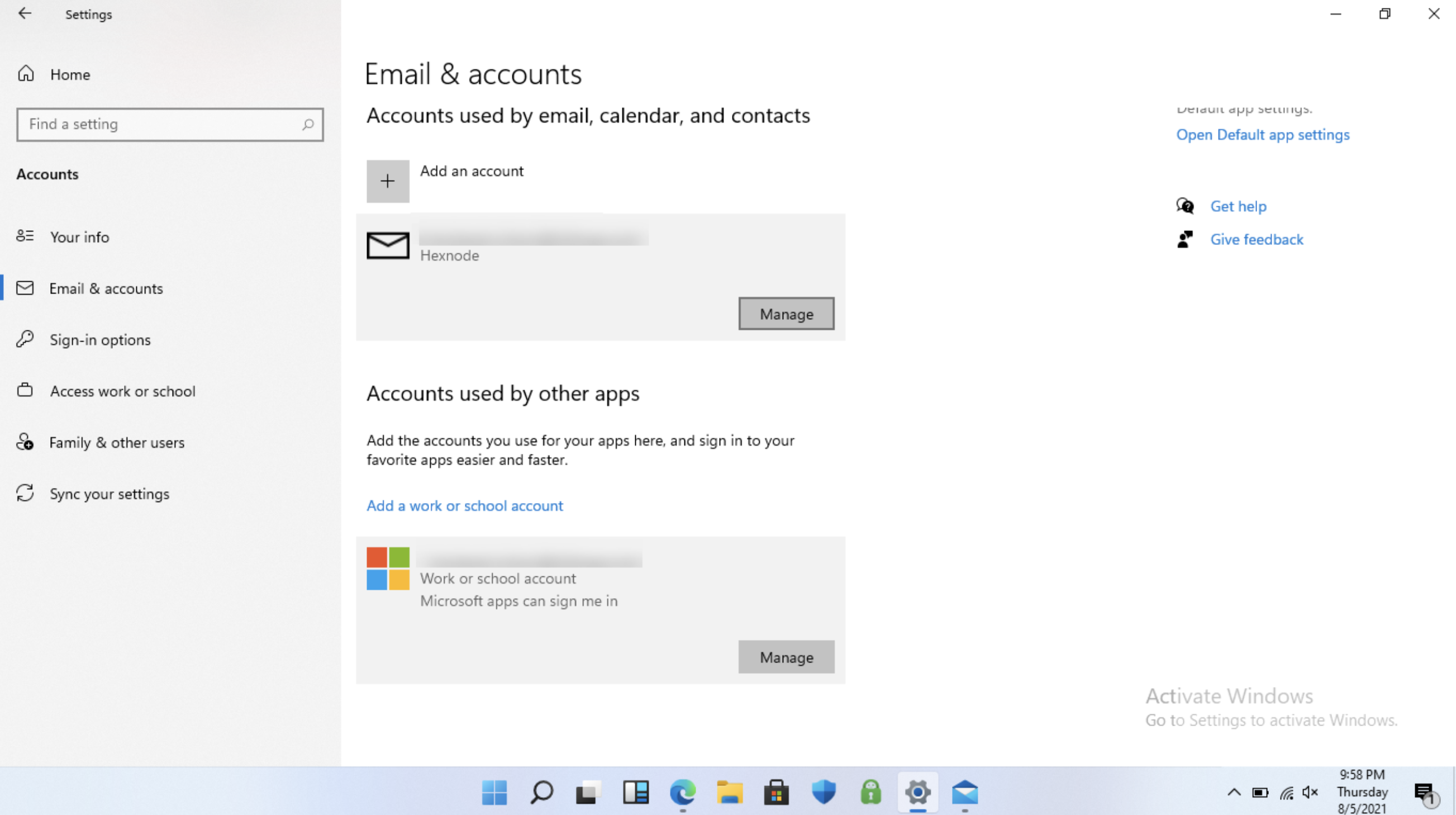 Email account appears on Email & accounts of the device settings page