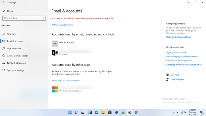 Exchange activesync account synchronized with email & accounts on the device